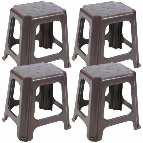 Sunnydaze Brown Plastic Step Stool - Set of 4 - 260-Pound Capacity - 16-Inch Perspective: front