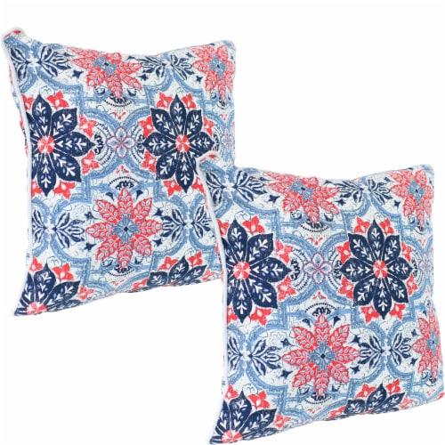 2 Outdoor Throw Pillows 16 Inch Red, Outdoor Blue Pillows