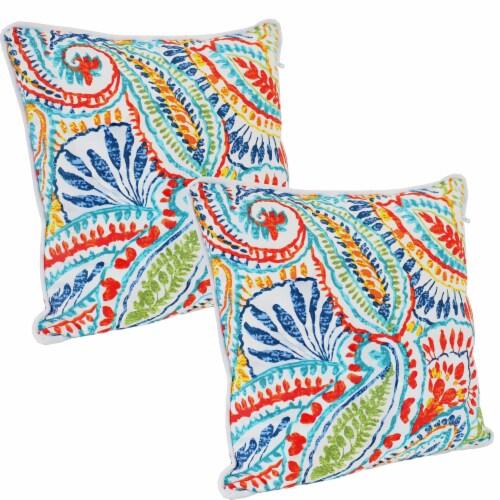 Sunnydaze Set Of 2 Outdoor Throw, Outdoor Blue Pillows