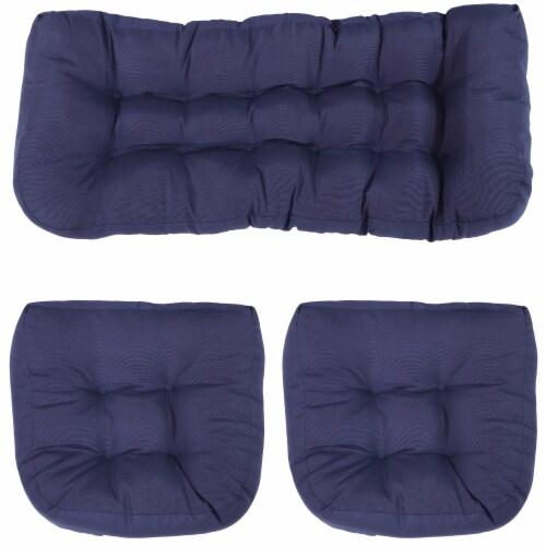 Sunnydaze Tufted Olefin 3-Piece Indoor/Outdoor Settee Cushion Set - Blue Perspective: front