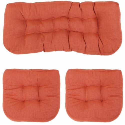 Sunnydaze Tufted Olefin 3-Piece Indoor/Outdoor Settee Cushion Set - Burnt Orange Perspective: front