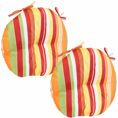 Sunnydaze Polyester Round Patio Seat Cushions - Set of 2 - Sherbert Stripes Perspective: front