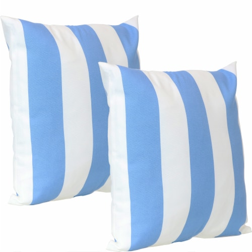 Sunnydaze 2 Outdoor Decorative Throw Pillows - 17 x 17-Inch - Beach-Bound Stripe Perspective: front