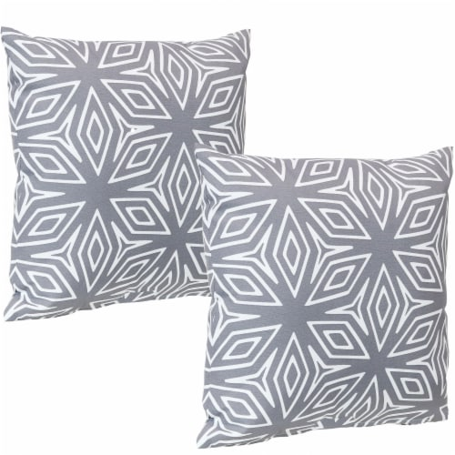 Sunnydaze 2 Outdoor Decorative Throw Pillows - 17 x 17-Inch - Gray Geometric Perspective: front