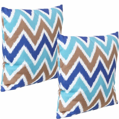 Sunnydaze 2 Outdoor Decorative Throw Pillows - 17 x 17-Inch - Chevron Bliss Perspective: front