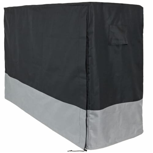 Sunnydaze Log Rack Cover - Gray and Black - Water-Resistant - 6-Foot Perspective: front