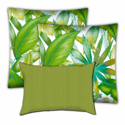 Joita Calypso Palm Polyester Outdoor Pillows in Green (Set of 3) Perspective: front