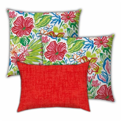 Joita Tropical Fruit Salad Polyester Zippered Pillow Covers in Red (Set of 3) Perspective: front