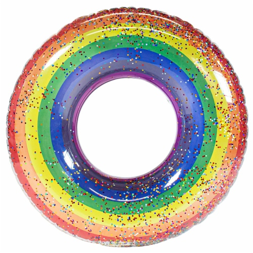 PoolCandy Rainbow Glitter Pool Tube Perspective: front