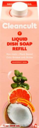 Cleancult Grapefruit Basil Liquid Dish Soap Refill Perspective: front