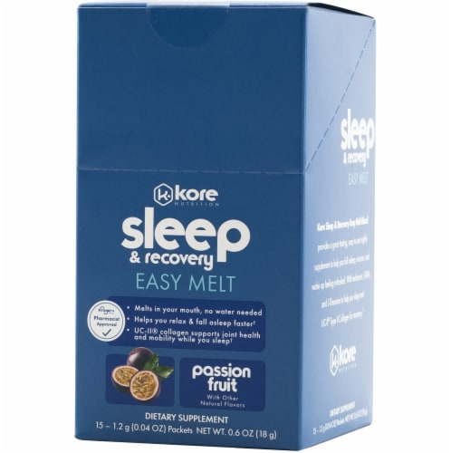 Kore Nutrition Sleep & Recovery Easy Melt Passion Fruit Flavor Stickpacks Perspective: front