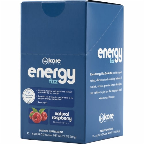 Kore Nutrition Energy Fizz Natural Raspberry Flavor Stickpacks Perspective: front