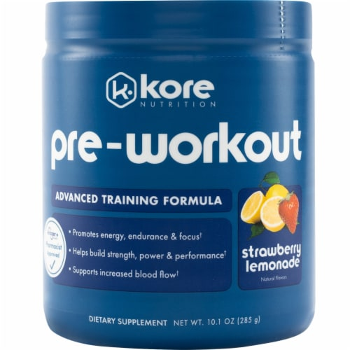 Kore Nutrition Strawberry Lemonade Pre-Workout Supplement Perspective: front
