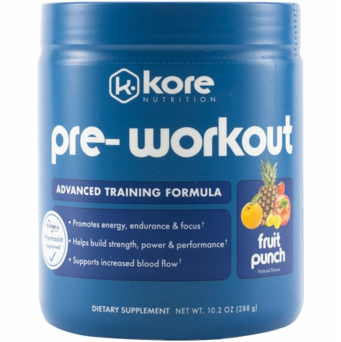 Kore Nutrition Fruit Punch Pre-Workout Supplement Perspective: front