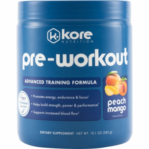 Kore Nutrition Peach Mango Pre-Workout Supplement Perspective: front
