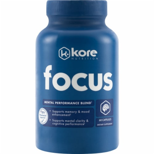 Kore Nutrition Focus Dietary Supplement Capsules 60 Count Perspective: front