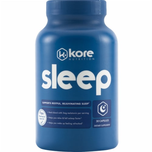 Kore Nutrition Sleep Dietary Supplement Capsules Perspective: front