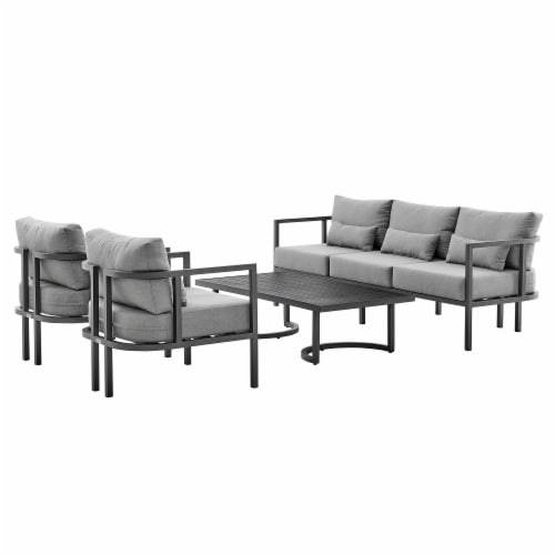 Valentina 4 Piece Dark Gray Aluminum Outdoor Seating Set with Dark Gray Cushions Perspective: front