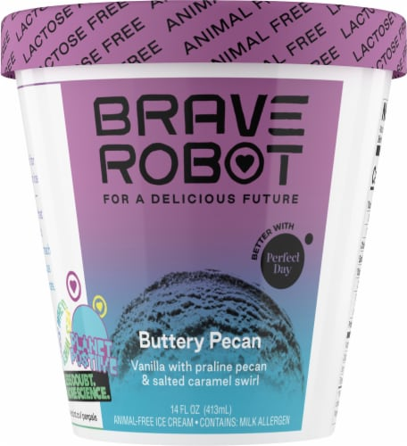 Brave Robot Buttery Pecan Animal-Free Ice Cream Perspective: front
