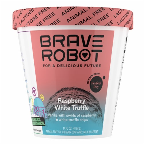 Brave Robot Raspberry White Truffle Non-Dairy Frozen Dessert Perspective: front