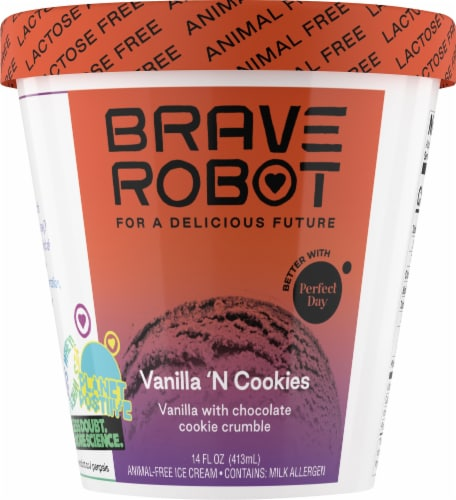 Brave Robot Vanilla 'N Cookies Animal-Free Ice Cream Perspective: front