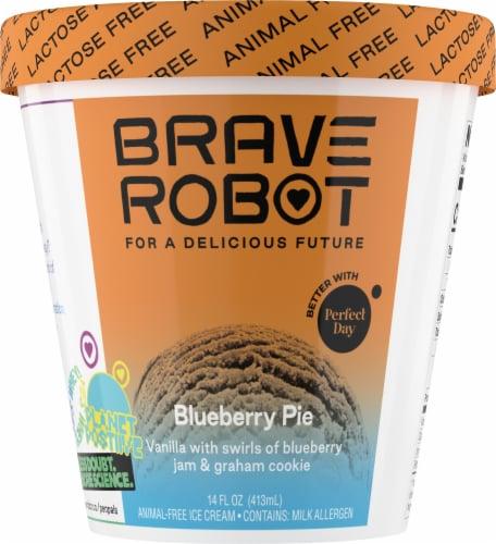 Brave Robot Blueberry Pie Animal-Free Ice Cream Perspective: front