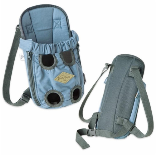 'Wiggle-Sack' Fashion Designer Front and Backpack Dog Carrier - Small / Blue Perspective: front