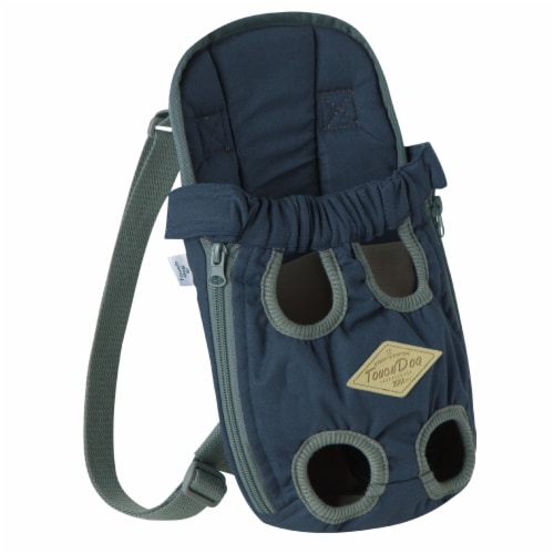 'Wiggle-Sack' Fashion Designer Front and Backpack Dog Carrier - Small / Navy Perspective: front