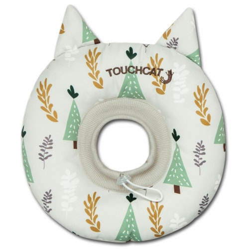 Licking and Scratching Adjustable Pillow Cat Neck Protector - Medium / White Perspective: front