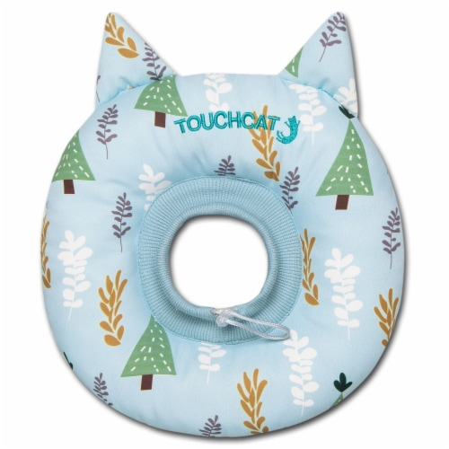 Licking and Scratching Adjustable Pillow Cat Neck Protector - Small / Blue Perspective: front