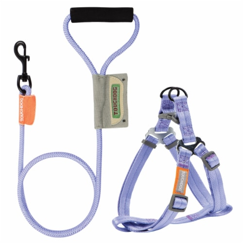 Touchdog  'Macaron' 2-in-1 Durable Nylon Dog Harness and Leash - Small / Purple Perspective: front