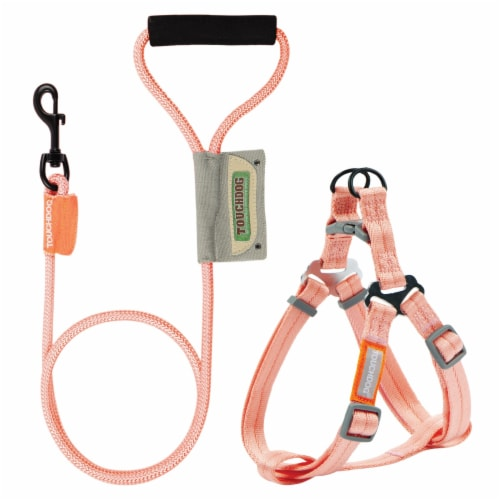 Touchdog  'Macaron' 2-in-1 Durable Nylon Dog Harness and Leash - Medium / Pink Perspective: front