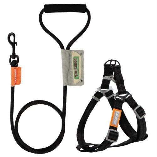 Touchdog  'Macaron' 2-in-1 Durable Nylon Dog Harness and Leash - Large / Black Perspective: front