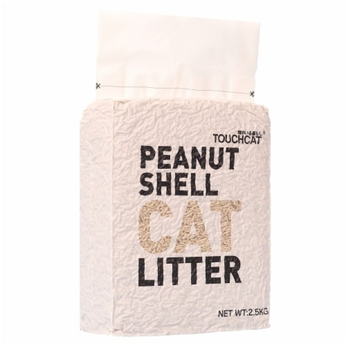 High-Clumping Eco-Friendly Peanut Shell Kitty Cat Litter - 5.5 LBS / Beige Perspective: front