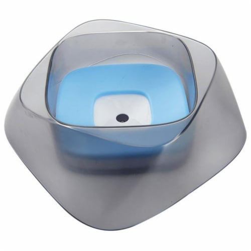 Pet Life 'Hydritate' Anti-Puddle Cat and Dog Drinking Water Bowl, Blue Perspective: front