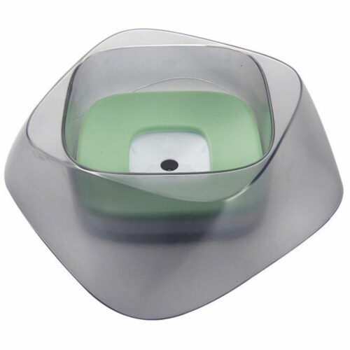 Hydritate' Anti-Puddle Cat and Dog Drinking Water Bowl - One Size / Green Perspective: front