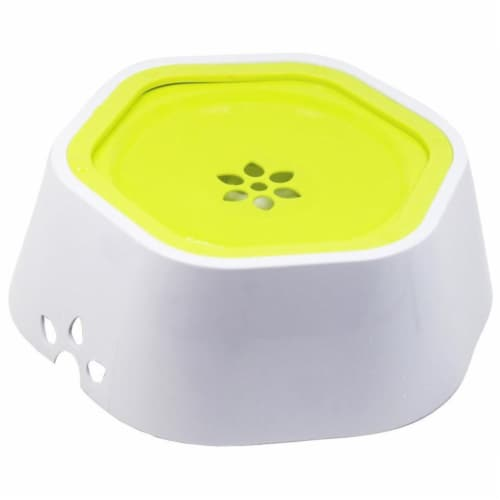 Pet Life 'Everspill' 2-in-1 Food and Anti-Spill Water Pet Bowl, Green Perspective: front