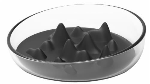 Cirlicue' Mountain Shaped Modern Slow Feeding Pet Bowl - One Size / Black Perspective: front