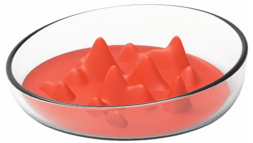 Pet Life 'Cirlicue' Mountain Shaped Modern Slow Feeding Pet Bowl, Orange Perspective: front
