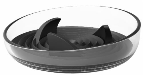 Pet Life 'Cirlicue' Shark Fin Shaped Modern Slow Feeding Pet Bowl, Black Perspective: front