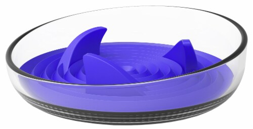 Pet Life 'Cirlicue' Shark Fin Shaped Modern Slow Feeding Pet Bowl, Blue Perspective: front