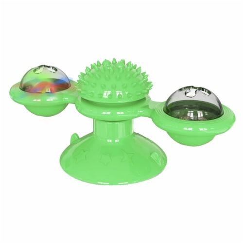 Pet Life  'Windmill' Rotating Suction Cup Spinning Cat Toy - One Size / Green Perspective: front