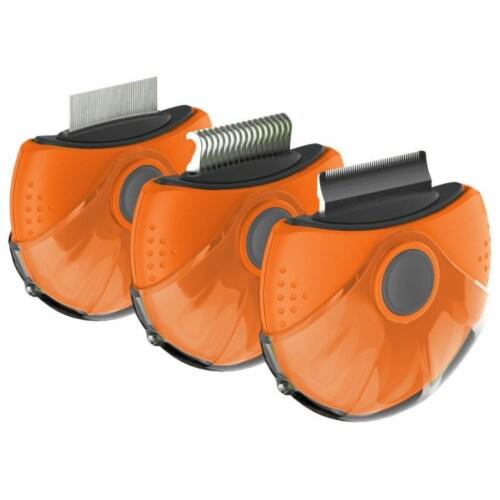 Pet Life 'Axler' Triple Rotating Rake Deshedder and Dematting Grooming Pet Comb, Orange Perspective: front