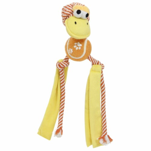 Tennis Pawl' Rope  Squeaker and Crinkle Tennis Dog Toy - One Size / Orange Perspective: front