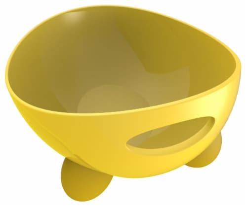 Pet Life 'Modero' Dishwasher Safe Modern Tilted Dog Bowl, Yellow Perspective: front