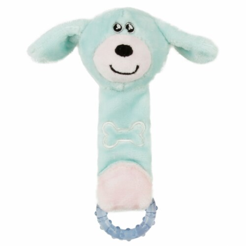 Plush and Rubber Squeaking Newborn Teething Cat and Dog Toy - One Size / Blue Perspective: front