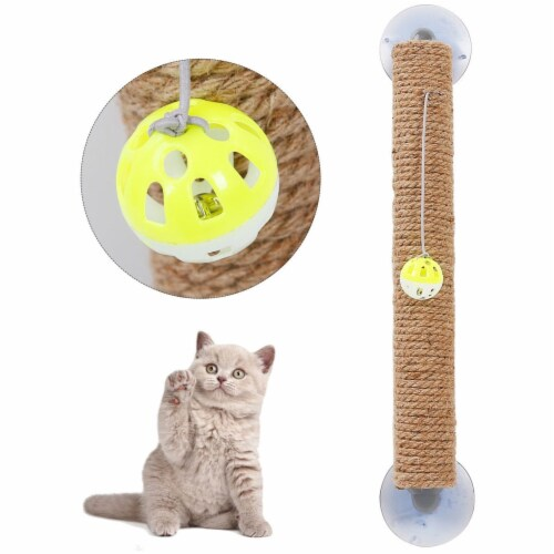 Sisal Rope and Toy Suction Cup Stick Shaped Cat Scratcher - One Size / Brown Perspective: front