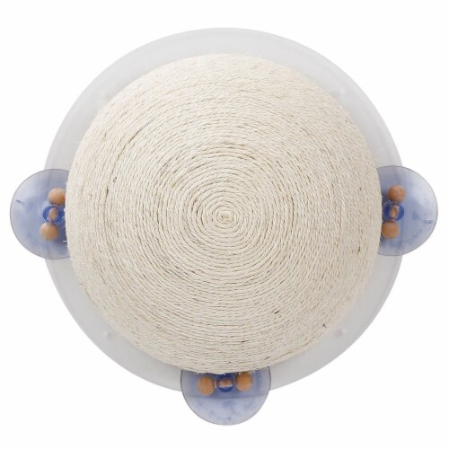 Sisal Rope and Toy Suction Cup Circular Cat Scratcher - One Size / Beige Perspective: front