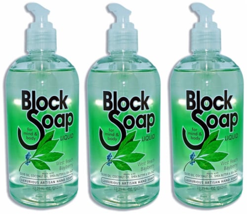 Block Island Block Soap West Beach Bayberry Fragrance Liquid Hand Soap 3 Count Perspective: front