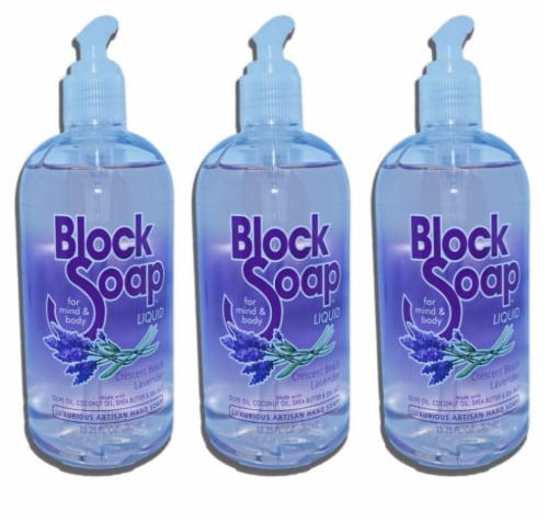 BlockSoap Crescent Beach Lavender Fragrance Liquid Hand Soap 3 Count Perspective: front